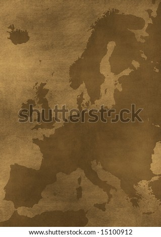 old dirty grunge Europe map illustration