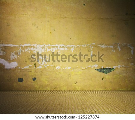 old dirty room, yellow background