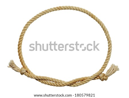 Old Dirty Rope Oval Frame Isolated on White Background. #180579821