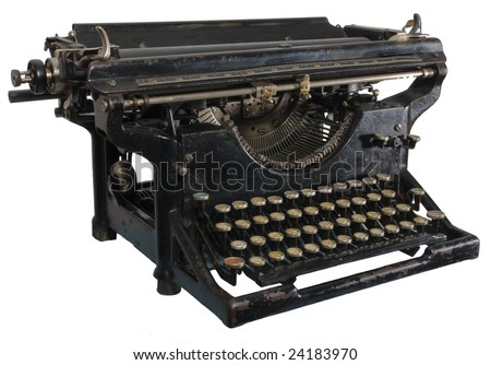 Old dirty rusty black mechanic typing machine with cyrillic characters isolated on white