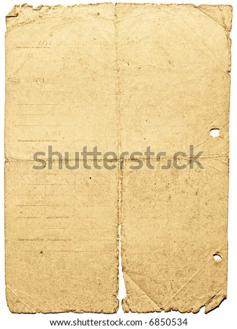 Old dirty shabby paper with cuts & folds. Image on white background