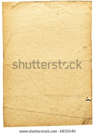 Old dirty shabby paper with dark borders & folds over white background