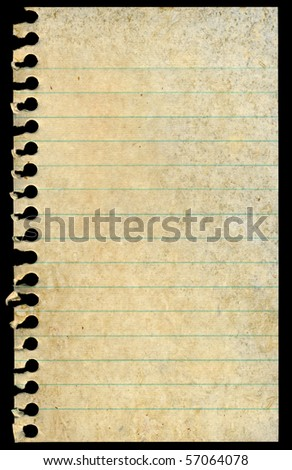 Old dirty stained blank torn notepaper page isolated on a black background. - stock photo