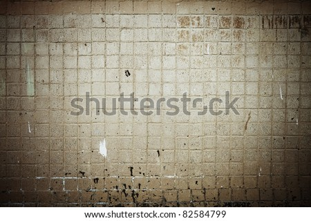 old dirty tile wall