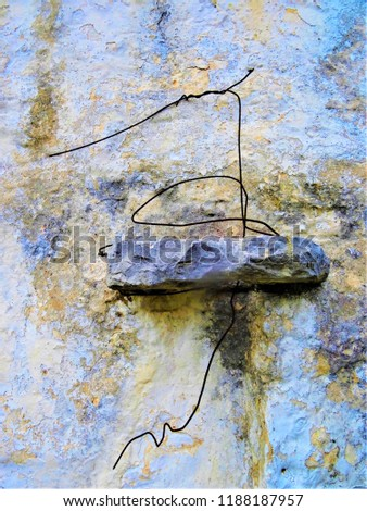 Old dirty wall with lichen and wire frame #1188187957