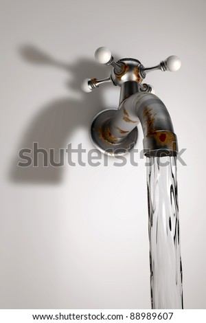 Old dirty Water tap