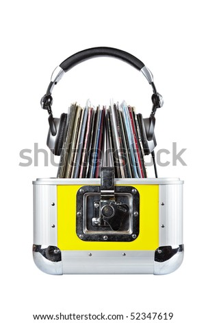 Old Disc Jockey box and headphones, isolated on white background. Shallow depth of field