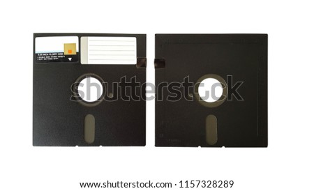 Old diskette 5.25 inches front and back on white background.