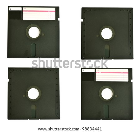 Old diskette 5 25 inches with label isolated on white background