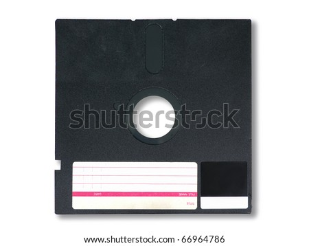 Old diskette 5.25 inches with label on white background