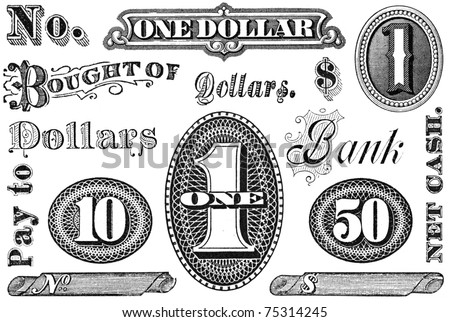 Old, distressed black and white financial and banking elements from 1870 through 1920.  Numbers and words, isolated on white.