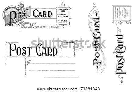 Old, distressed black and white post card headers from 1890 - 1910. Isolated on white.