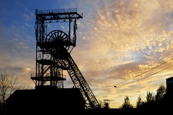 Old disused mine shaft in Saarland in sunset