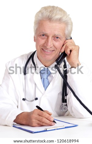 old doctor writing on a white background
