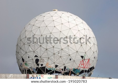 Old dome of a radar antenna of a listening station