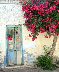 old door and white plastered wall with a tree that gives beautiful red flowers, on a greek Island in the sun