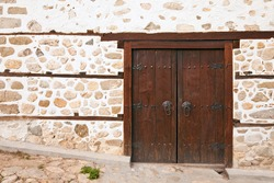 Old door at the 19th century Kordopulova House in Melnik, Bulgaria.