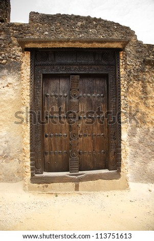 Old door Fort Jesus Mombasa Kenya Africa
