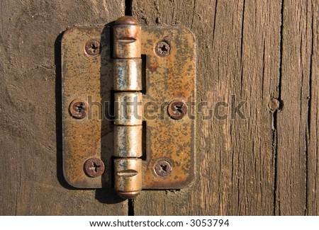 Old door hinge on wooden door.