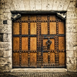 Old door in Burgos (Castilla y Leon), Spain