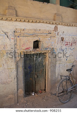 Old door in old house in old Delhi in India