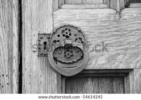 Old Door Lock and Handle in Black and White