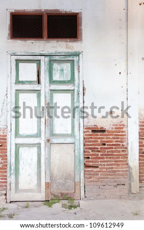 old door on the brick wall