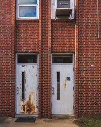 Old doors with brick walls