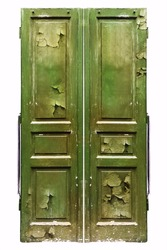 Old doors with cracky paint