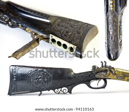 By side hunting gun 12 caliber bavaria munich xix century isolated