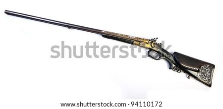 old double-barrelled side by side hunting gun 12 caliber (Bavaria, Munich. XIX century) isolated on white background.
