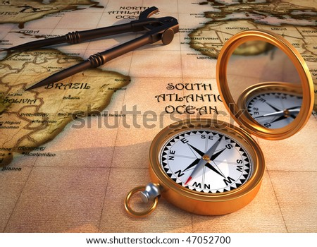 Old drawing compass, orientation compass, and an old map. 3d render. The map is my own model.