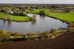 Old Durme river in East Flanders. Aerial view