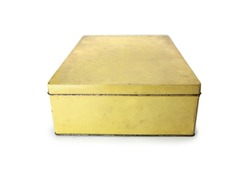 Old Dusty rectangular metal file container. Yellow  container box. With lid closed.