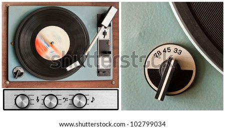 Old dusty vinyl player and controls