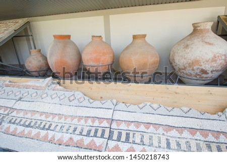 Old earthenware jugs and mosaic. Antiquity antiquity #1450218743
