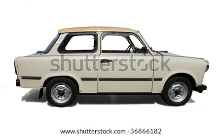 Old Eastern Europe car. Isolated on white