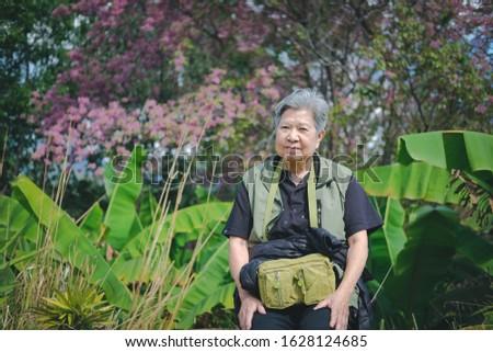 old elder woman resting in garden. asian elderly female relaxing outdoors. senior leisure lifestyle