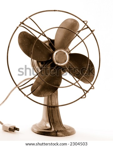 Old electric fan in sepia, isolated on white.