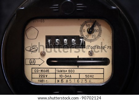Old electric meter close up