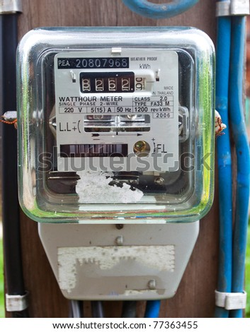 Old electric meter front view