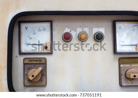 Old electric panel. old brick building with electrical boxes. control box. #737051191