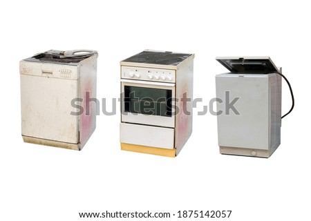 Old electrical appliances e-waste isolated on white background stock photo