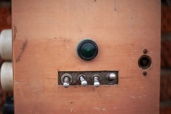 Old electricity switches. Amplifier control. Power buttons.