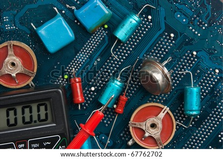 old electronic components on printed circuit board