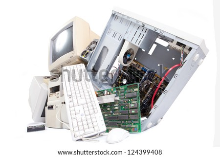 old electronic parts - stock photo