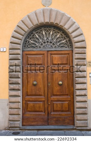 Old elegant door Tuscan Italy 4