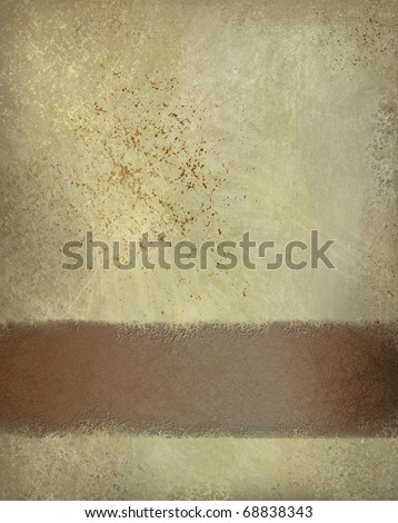 old elegant tan stained background with slight spattered grunge texture, darkened edges, country western cowboy feeling, dark brown graphic layout design stripe with copy space to add text or title