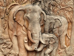 Old elephant sandstone wall panels for background.