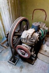 Old Elevator lifting mechanism, elevator winch. Lift system.